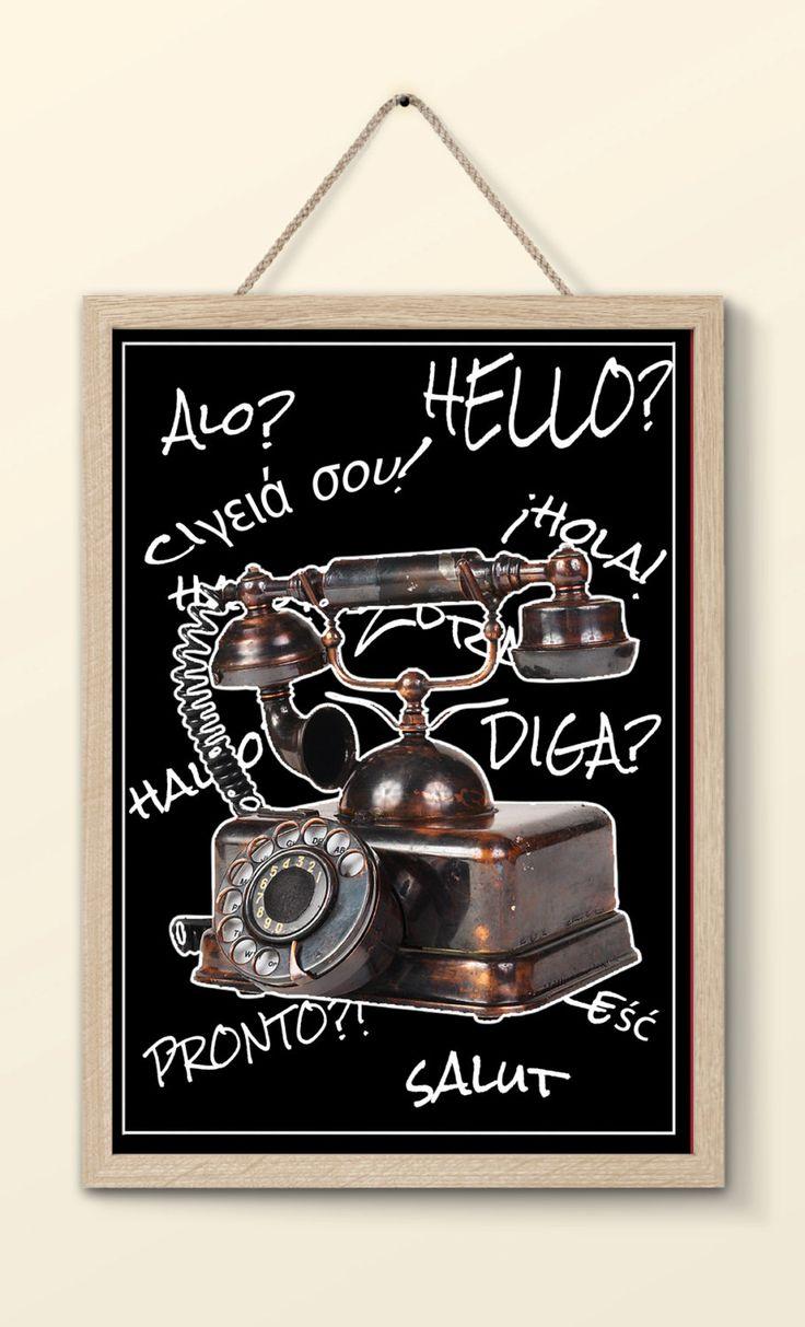 Stampa effetto lavagna stampabile a colori - Art Print - Telefono rétro, chiamate - Stampa per salotto - File stampabile di GoldenPepita su Etsy