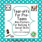 Bullying facts, tips for bystanders, and how to deal with teasing all in mini-poster (letter sized) format  make great room decorations and learnin...