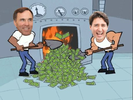 The Conservative Party of Canada trolling Justin Trudeau and Bill Morneau with a satirical GIF.