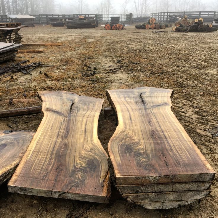 "Foggy day in Southern Ontario, Canada. At the crack of daylight I started warming up the Woodmizer band saw sawmill. First up is a Canadian Black Walnut log featuring 28"" to 35"" wide 7' long crotch grain slabs!"