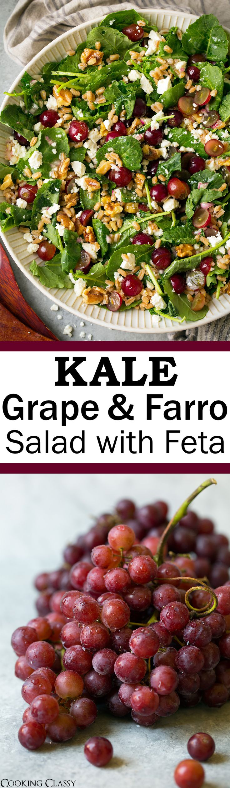 Kale Grape and Farro Salad with Feta and White Wine Vinaigrette - Cooking Classy