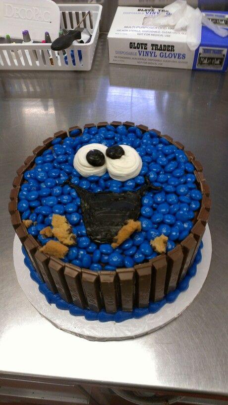 Cookie monster cake! Kit-Kat, blue m's, marshmallow eyes, icing mouth ...