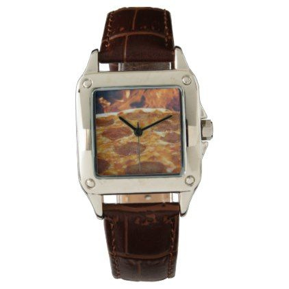 Pizza Face/Brown Leather Band Watch - boy gifts gift ideas diy unique