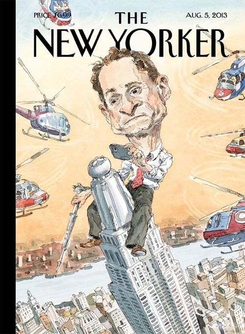 """John Cuneo, the artist who painted The New Yorker 's Anthony Weiner cover says, """"Free association made me think of the Empire State Building, and then King Kong, the iconic image of him straddling it."""""""