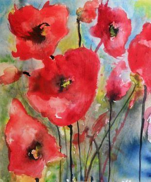 """Saatchi Online Artist Karin Johannesson; Painting, """"Red Poppies VII"""" #art"""