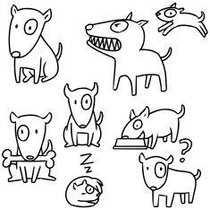 vector conjunto de cachorro, bull terrier vector art illustration