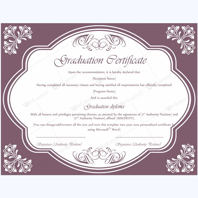 13 best Graduation Certificate Templates images on Pinterest - microsoft word award certificate template
