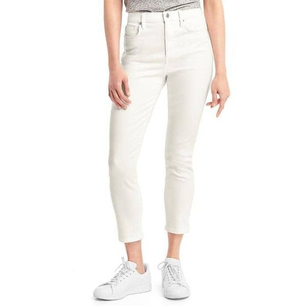 Gap Women Super High Rise True Skinny Crop Jeans ($56) ❤ liked on Polyvore featuring jeans, petite, white, high rise skinny jeans, white high waisted jeans, white skinny jeans, high-waisted skinny jeans and cropped skinny jeans