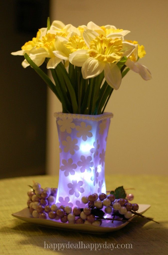 Spring Flowers   Frugal Decor: Painted Vase With Mod Podge Flower Cut Outs