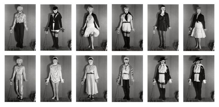 """Cindy Sherman, """"Untitled (Line-Up)"""" (1977/2011), 12 gelatin silver prints (© Cindy Sherman; courtesy the artist, Metro Pictures, New York, and Hauser & Wirth)"""