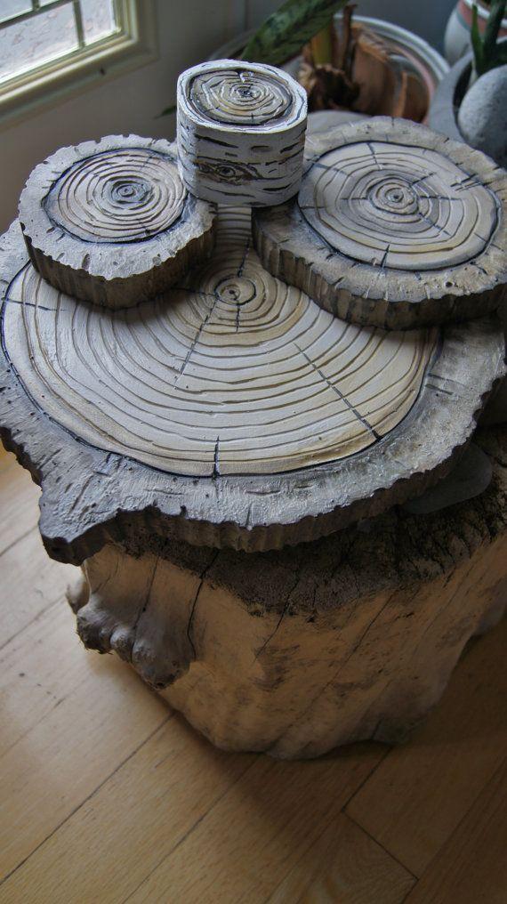 Tree Stump Wall Decor : Woodland wall art d natural wood stump hanging
