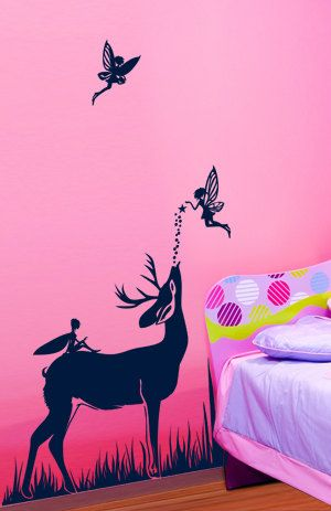 Original Illustrated Deer in Fairy Land Kid room removable wall art decals. $42.50, via Etsy.
