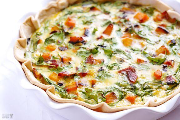 Butternut Squash, Arugula and Bacon Quiche | Gimme Some Oven