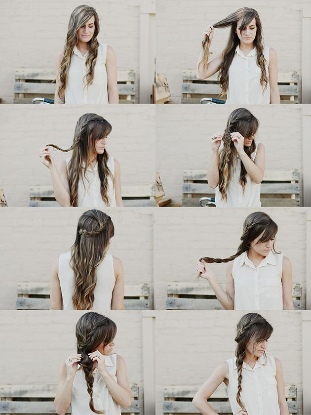 Start braiding a part of your hair, once the braid is complete, pin it on the back/far side of your head underneath the top layer of your hair, covering the bobby pins. Next, braid the rest of your hair into a side braid