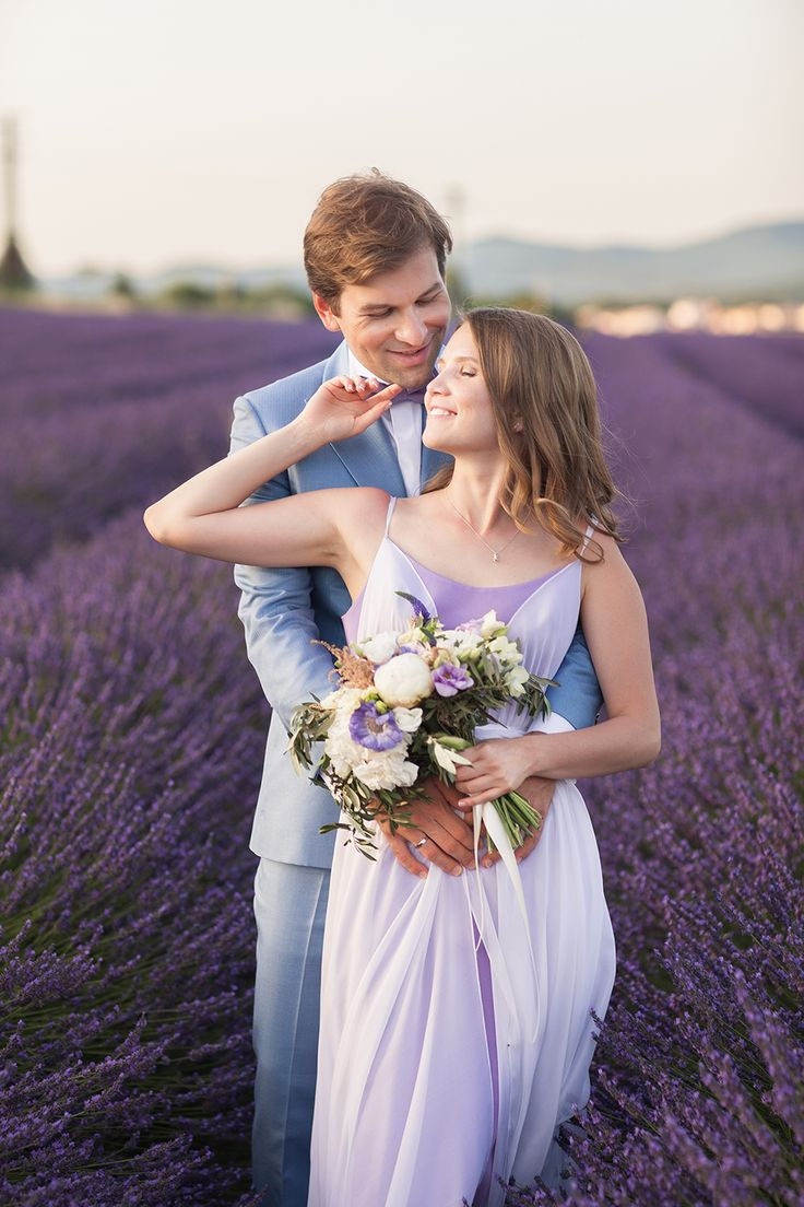 bridal - groom - lavender fields - Provence - wedding in Provence - wedding planner: Laura Dova Weddings - www.lauradovaweddings.com Photography by Philip Andrukhovich