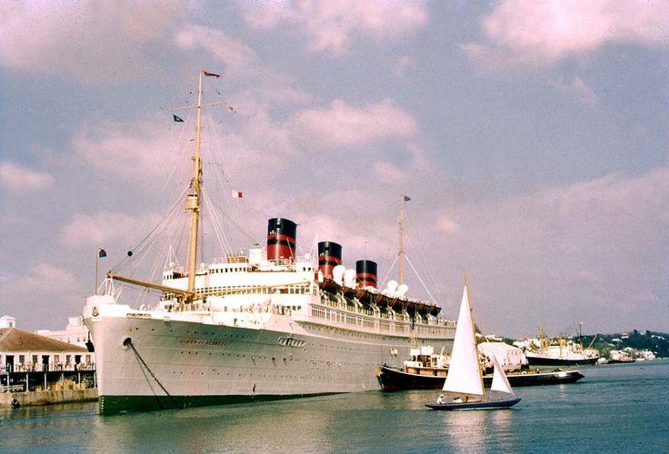 Rms Queen Of Bermuda Docked In Hamilton Bermuda 1950s