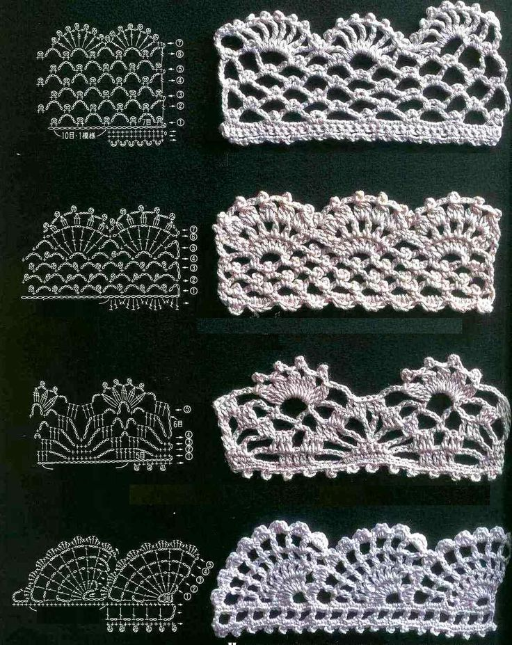 Lovely lace crochet edgings.  Includes one you can work inch by inch; in other words it works vertically more than horizontally.  great when you are not sure how much you will need for your project.  Great to crochet and save.