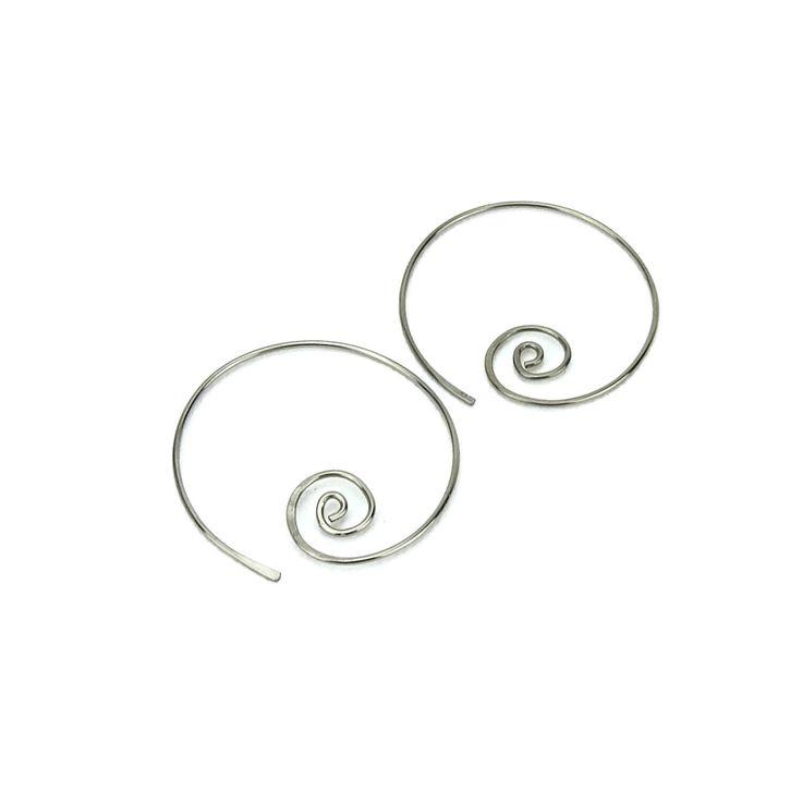 Niobium Earrings Spiral Hoops, Silver-color Niobium Spiraling Hoop Earrings for Sensitive Ears, Hypoallergenic Earrings Niobium Jewellery by NonitaJewelry on Etsy https://www.etsy.com/listing/76556122/niobium-earrings-spiral-hoops-silver