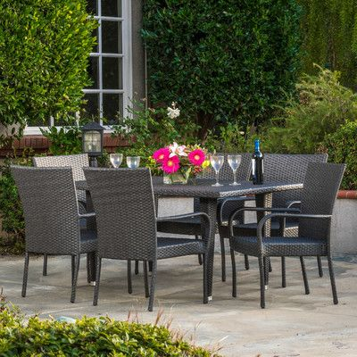 Home Loft Concept Curacao Outdoor 7 Piece Dining Set & Reviews | Wayfair