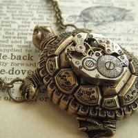 Steampunk Necklace Turtle ( I wish they could have sunk the clock work in so that it was flush)