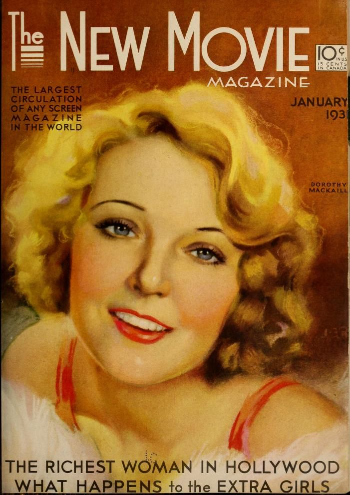 Cover painting of Dorothy Mackaill by Jules Erbit. The New Movie Magazine (Jan-Jun 1931)