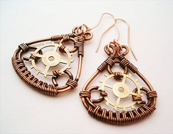 Steampunk Earrings Copper and Gears Handmade by GearsFactory, €20.00 [~$27.00 cute!]