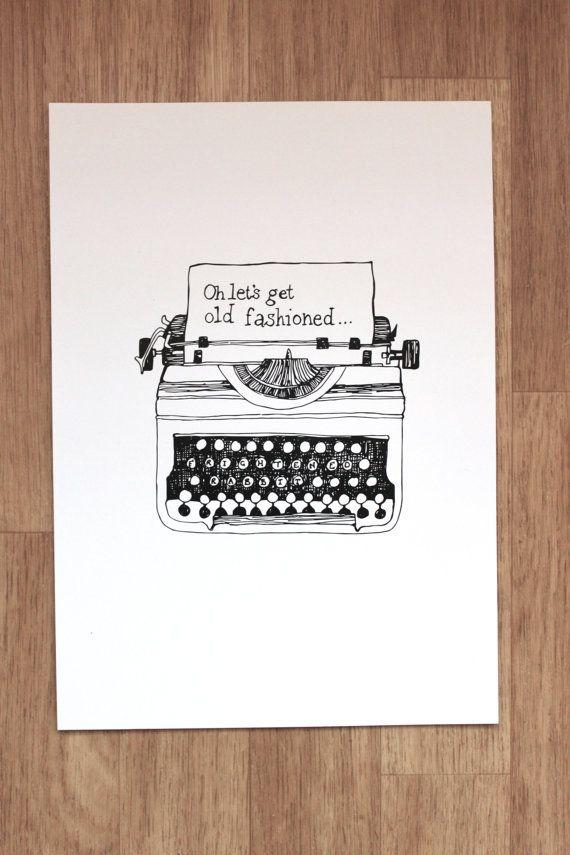 FRightened Rabbit Illustration Print Let's Get Old Fashioned