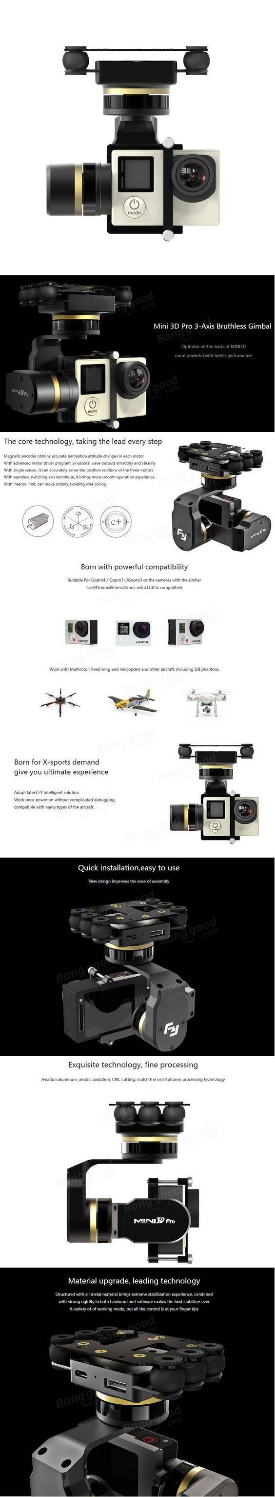 Feiyu Tech FY MiNi3D Pro 3 Axis 6 Damper Ball Brushless Gimbal For GoPro4 GoPro3+ GoPro3 Sport Camera