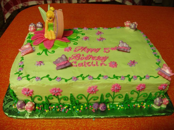 Tinkerbell Birthday Cake - Tinkerbell Birthday Cake made with buttercream and fondant decorations.