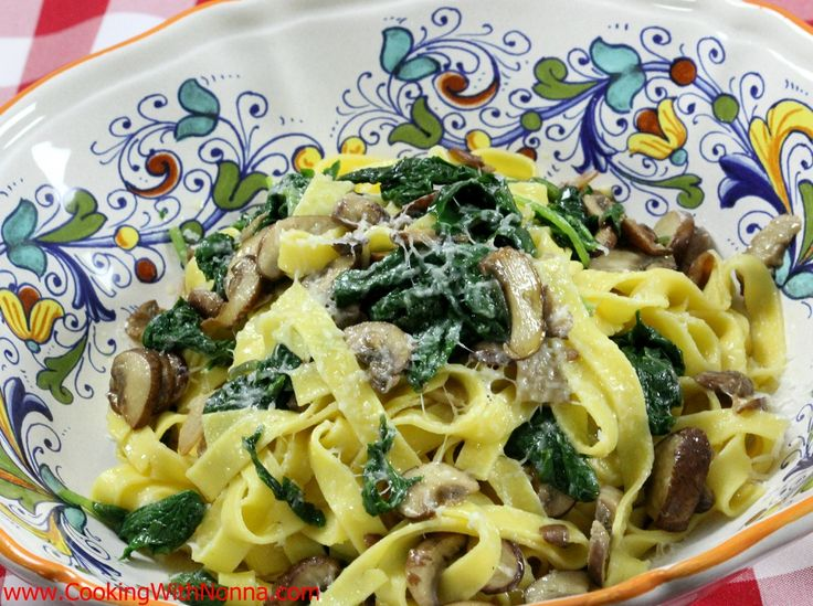 Egg Tagliatelle with Mushrooms and Baby Kale
