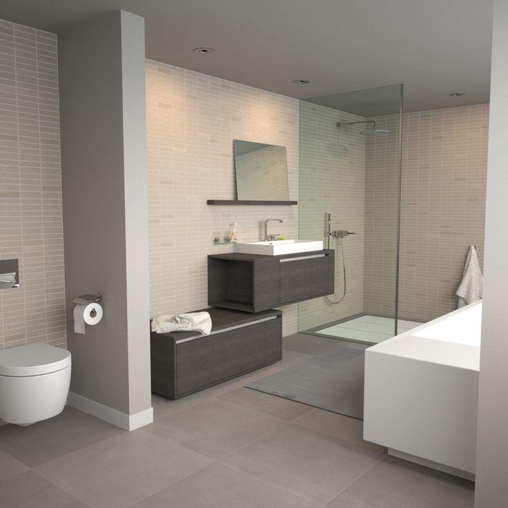 25 beste idee n over bruine tegel badkamers op pinterest for Bruine tegels