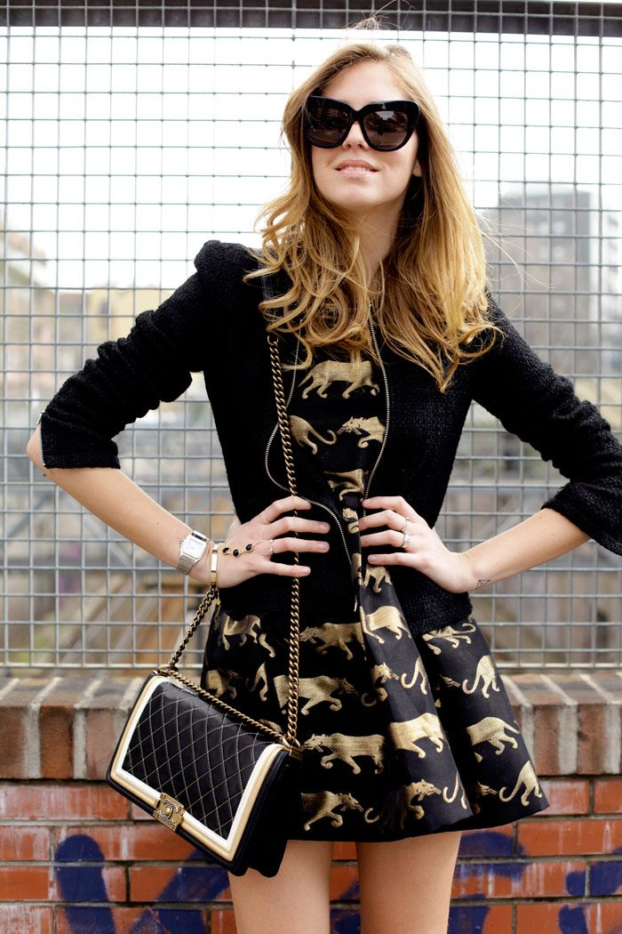 Black jacket, black and gold dress