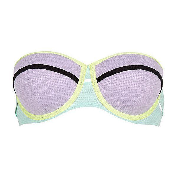 River Island Purple color block bustier bikini top (120 BRL) ❤ liked on Polyvore featuring swimwear, bikinis, bikini tops, purple, swimwear / beachwear, women, swimsuits tops, purple bikini top, cut out bikini and purple swim top