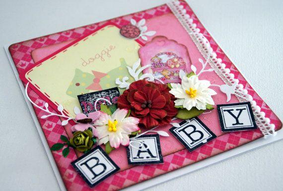 Baby Girl Card Congratulation card Handmade by MaggiesGiftsShop