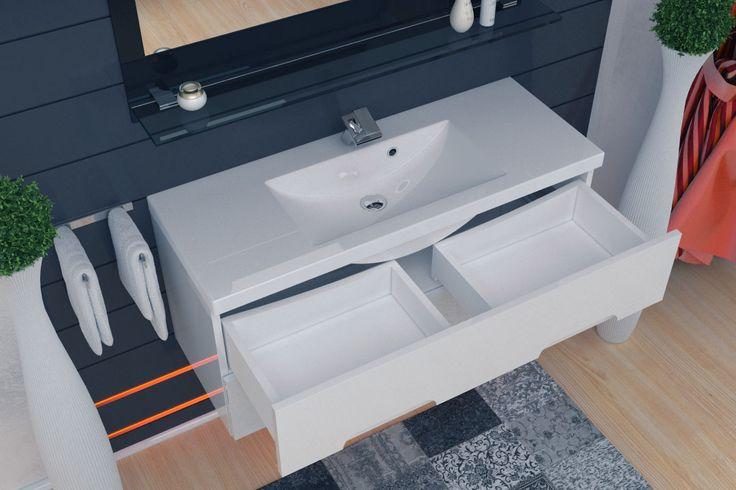 Wygodne szuflady w szafce umywalkowej ułatwiają codzienne korzystanie z łazienki. Nasze meble ułatwiają utrzymanie porządku i organizacji w łazience.