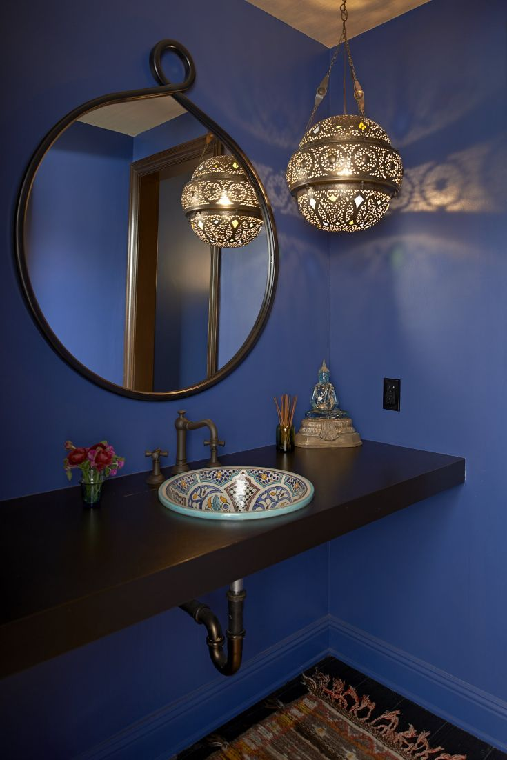 Blue Eclectic Spanish Style Bathroom Luxe Bath Powder Rooms Pinterest Powder Eclectic