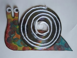recycled cd snail
