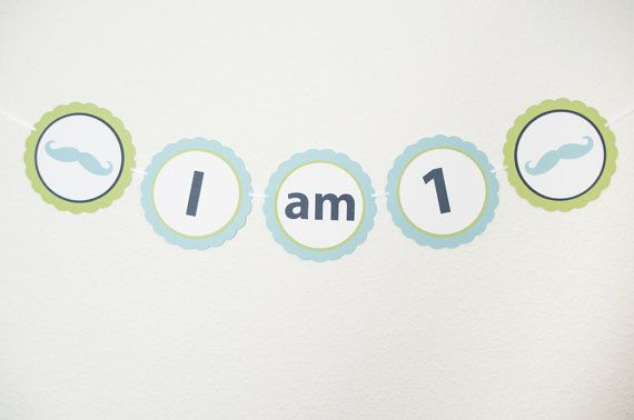 I AM 1 Banner Little Man Party Birthday Party by sparkanddelight
