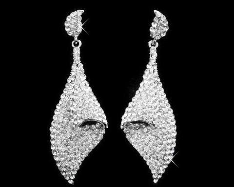 Wedding Earrings - Crystal Twist Drop Earrings, Creme