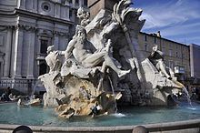 True to the decorative dynamism of Baroque, among Bernini's most gifted creations were his Roman fountains that were both public works and papal monuments. His fountains include the Fountain of the Triton or Fontana del Tritone and the Barberini Fountain of the Bees, the Fontana delle Api.[16] The Fountain of the Four Rivers or Fontana dei Quattro Fiumi in the Piazza Navona is a masterpiece of spectacle and political allegory