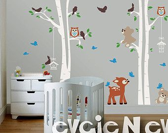 Deer, Teddy Bears, Birds And Trees Wall Decal   Woodland Nursery Wall Decals,  Baby Nursery Decal And Baby Nursery Sticker   Part 89