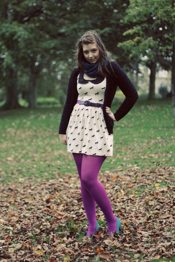 Kicking Leaves In Purple Pantyhose And Blue Heels My