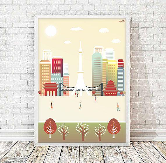 Tokyo print, Japan print, poster Tokyo, wall art print, wall art decor, Tokyo waltelcollor, Kanto, city print, art print, Japan cityscape