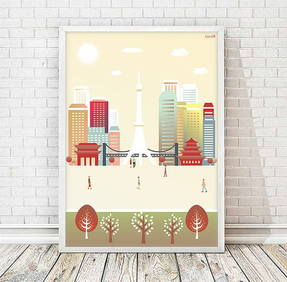 Tokyo print, Japan print, poster Tokyo, wall art print, wall art decor, nursery, Kanto, printable, city print, art print, print illustration
