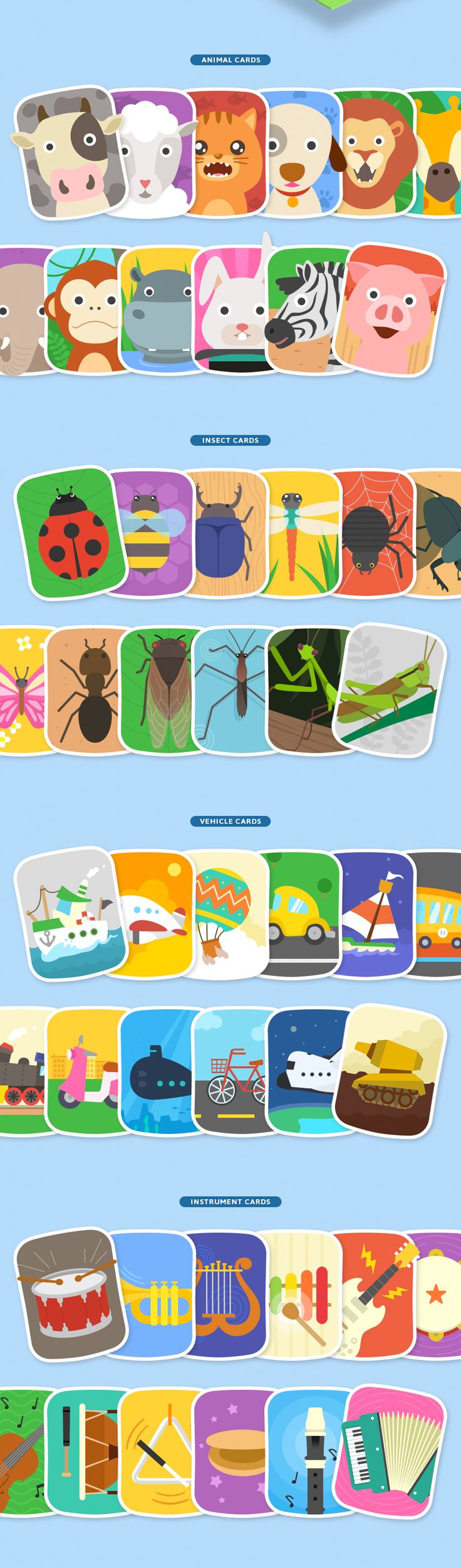 this is a memory game ui for kids, the ui is very user friendly and kid friendly, using big cards with friendly illustrations on them that are flat vectors that are immediately recognizable by a child