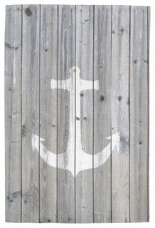 Hipster Vintage White Nautical Anchor on Gray Wood Hand Towel - contemporary - dishtowels - by Zazzle