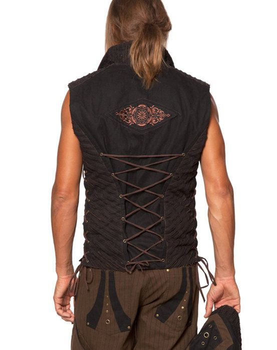Men's Funky Festival Space Vest with detachable by ShaCreations **Love the back lacing to create a fitted style.