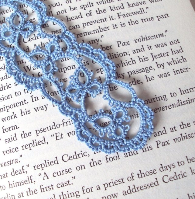Blue Lace Bookmark in Tatting - Emily - Folksy