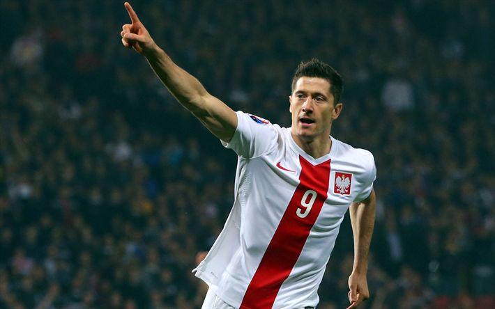 Descargar fondos de pantalla Robert Lewandowski, el fútbol, el polaco, el equipo nacional de fútbol de las estrellas