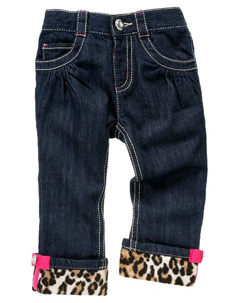 .add a layer of fav. Fabric on top of jeans to the bottom to make a funky cuff.